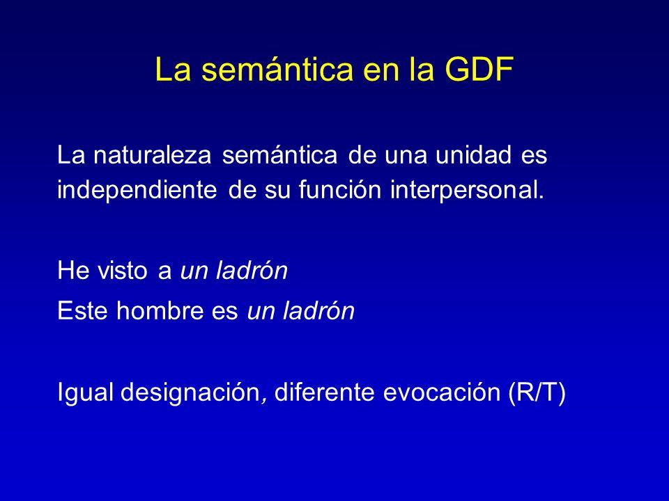 La semántica en la GDF La naturaleza semántica de una unidad es independiente de su función interpersonal.