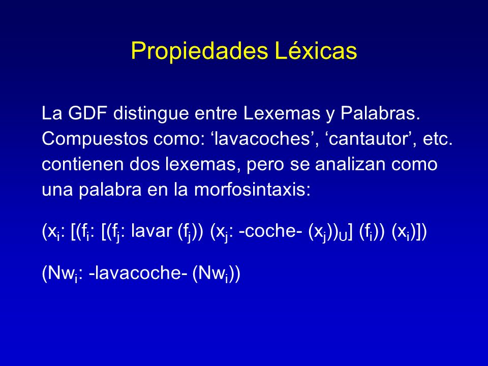 Propiedades Léxicas