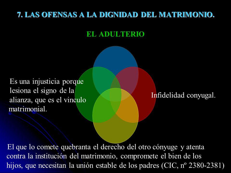 7. LAS OFENSAS A LA DIGNIDAD DEL MATRIMONIO.