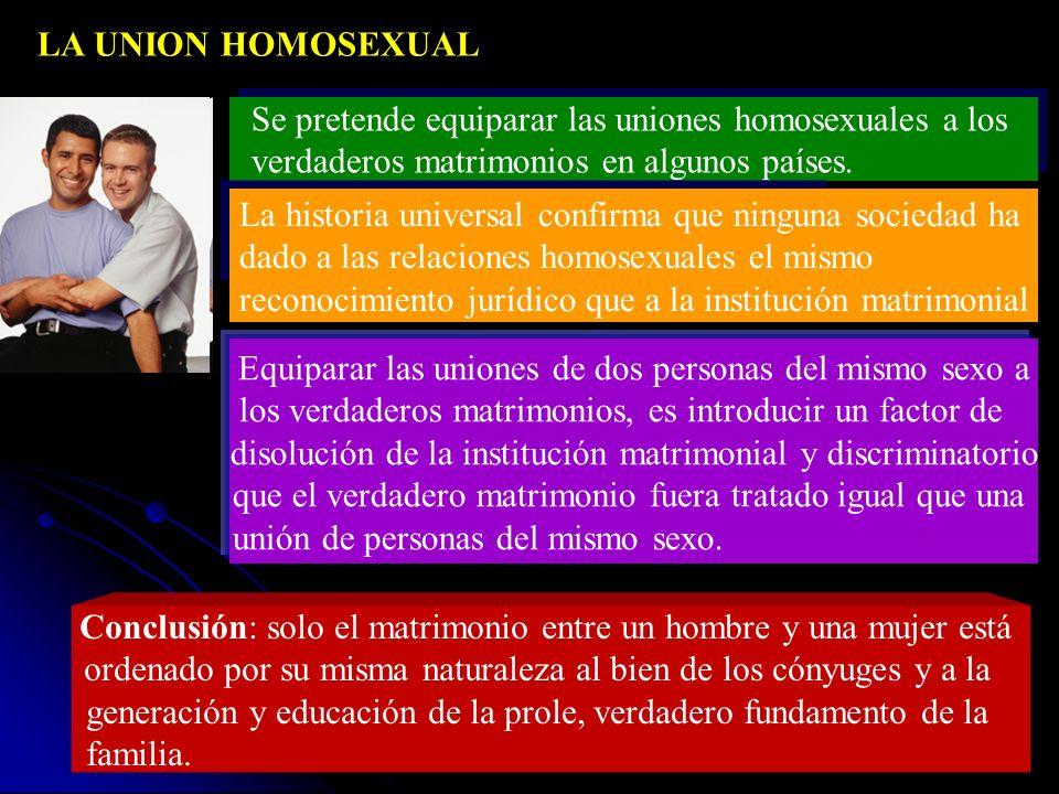 Se pretende equiparar las uniones homosexuales a los