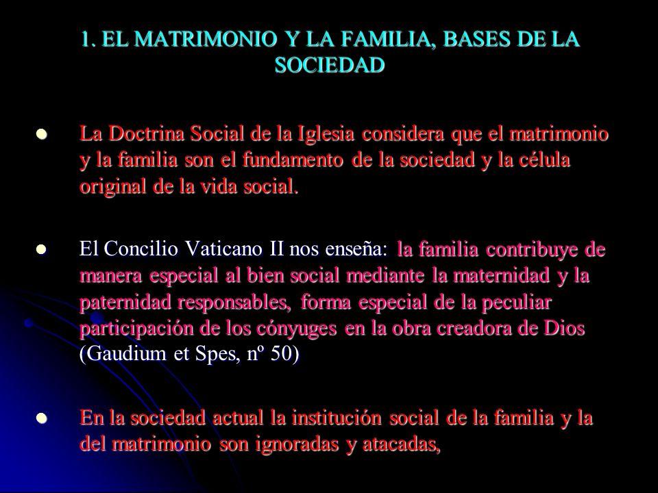 1. EL MATRIMONIO Y LA FAMILIA, BASES DE LA SOCIEDAD