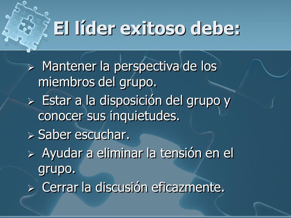 El líder exitoso debe: Mantener la perspectiva de los miembros del grupo. Estar a la disposición del grupo y conocer sus inquietudes.