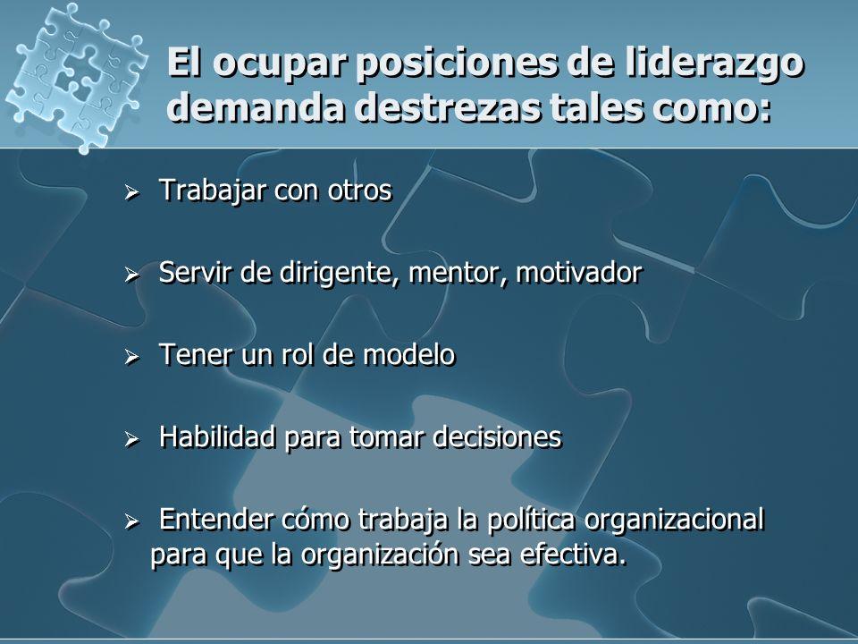 El ocupar posiciones de liderazgo demanda destrezas tales como: