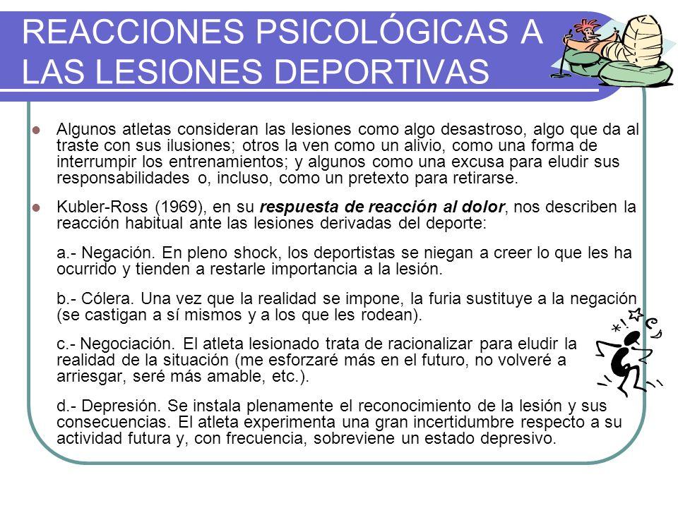 REACCIONES PSICOLÓGICAS A LAS LESIONES DEPORTIVAS