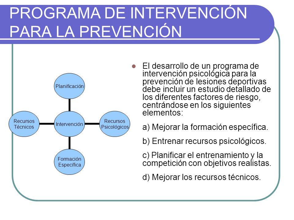 PROGRAMA DE INTERVENCIÓN PARA LA PREVENCIÓN