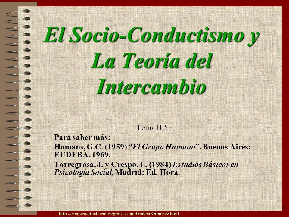 El Socio-Conductismo y La Teoría del Intercambio