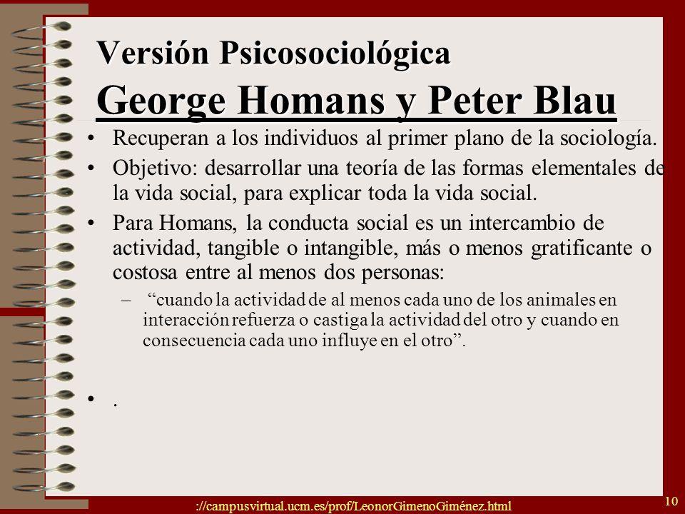 Versión Psicosociológica George Homans y Peter Blau