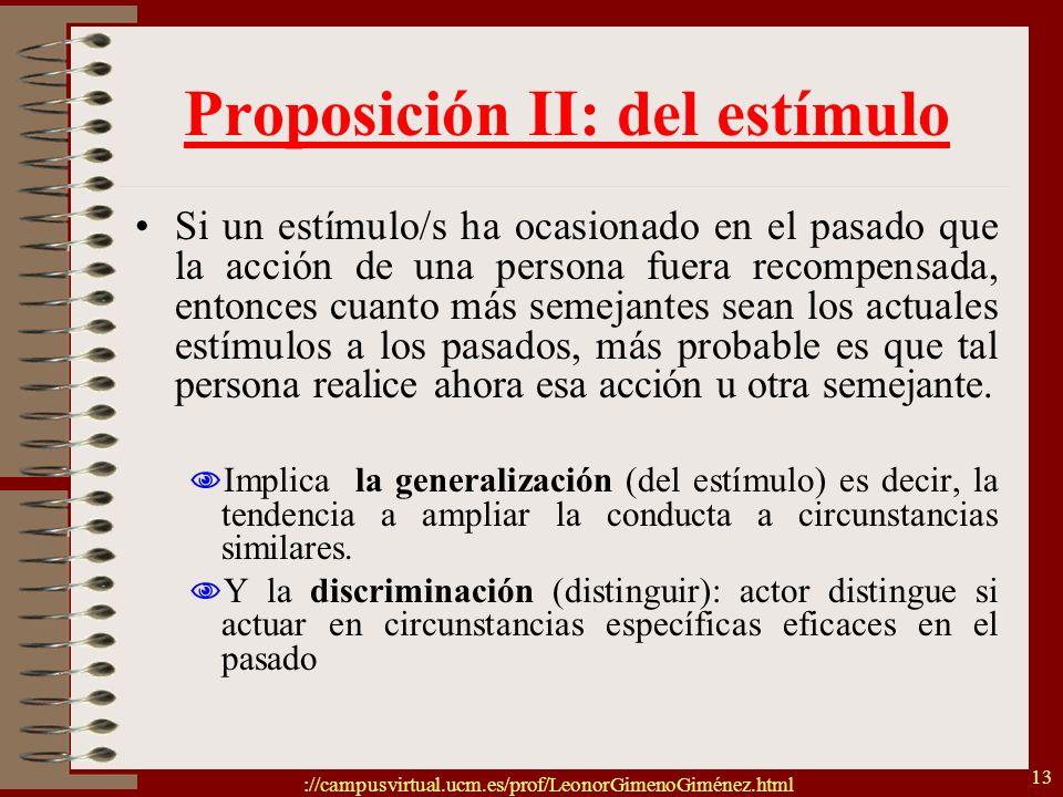 Proposición II: del estímulo
