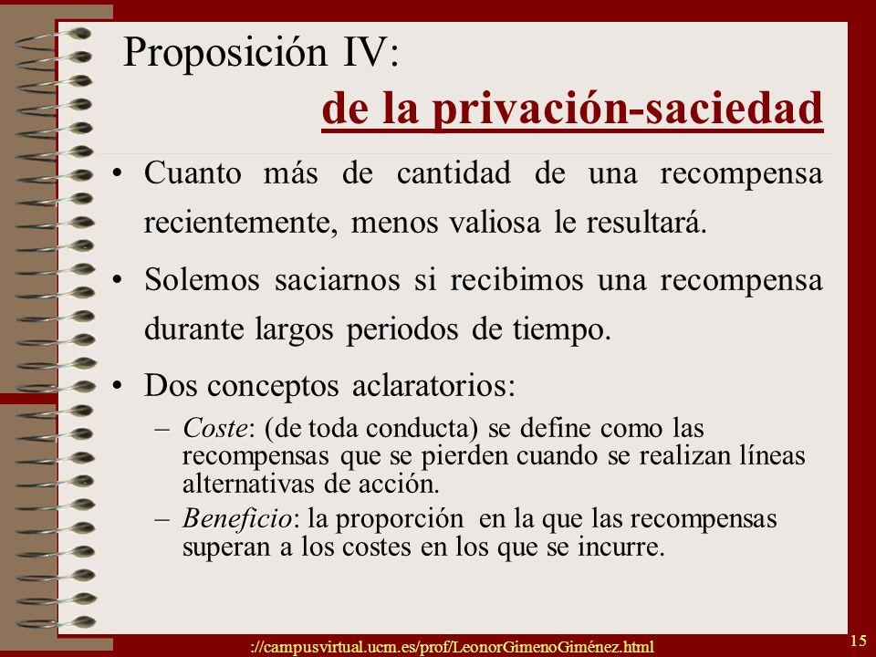 Proposición IV: de la privación-saciedad