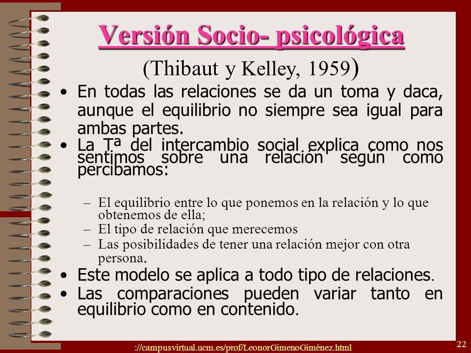 Versión Socio- psicológica (Thibaut y Kelley, 1959)