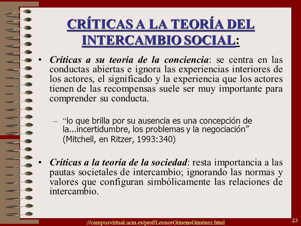 CRÍTICAS A LA TEORÍA DEL INTERCAMBIO SOCIAL: