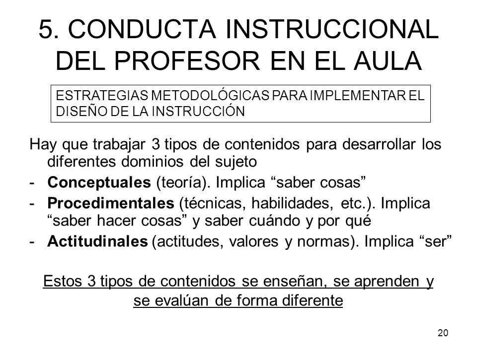 5. CONDUCTA INSTRUCCIONAL DEL PROFESOR EN EL AULA