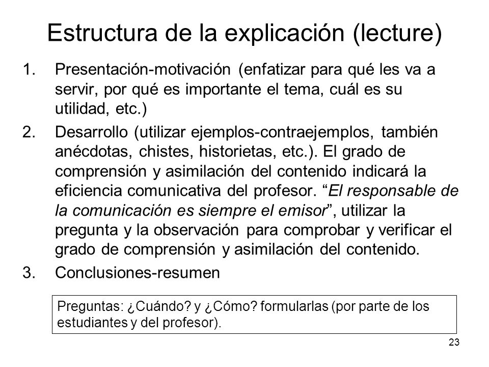 Estructura de la explicación (lecture)