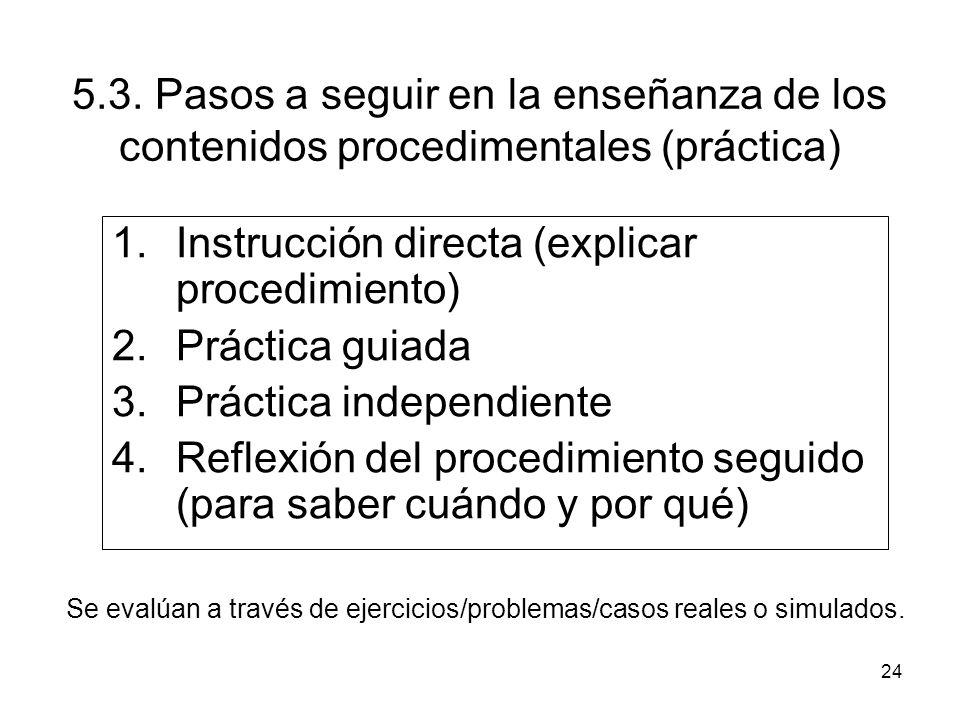 Instrucción directa (explicar procedimiento) Práctica guiada