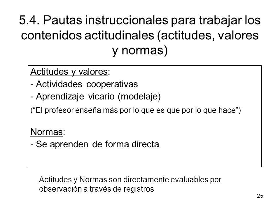 5.4. Pautas instruccionales para trabajar los contenidos actitudinales (actitudes, valores y normas)