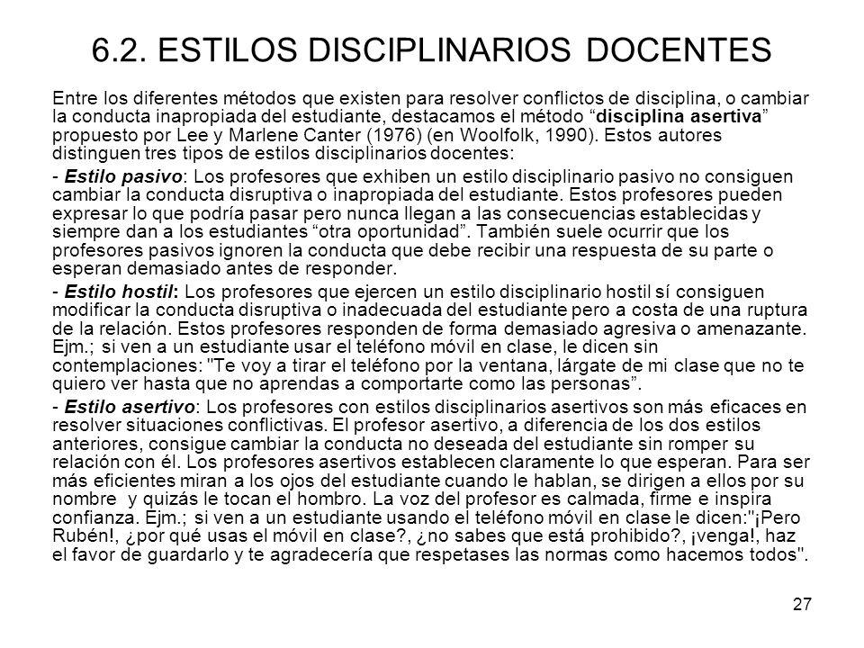 6.2. ESTILOS DISCIPLINARIOS DOCENTES