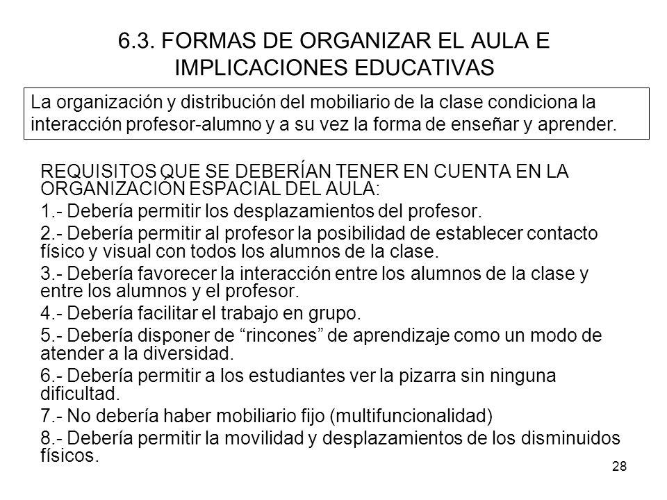 6.3. FORMAS DE ORGANIZAR EL AULA E IMPLICACIONES EDUCATIVAS
