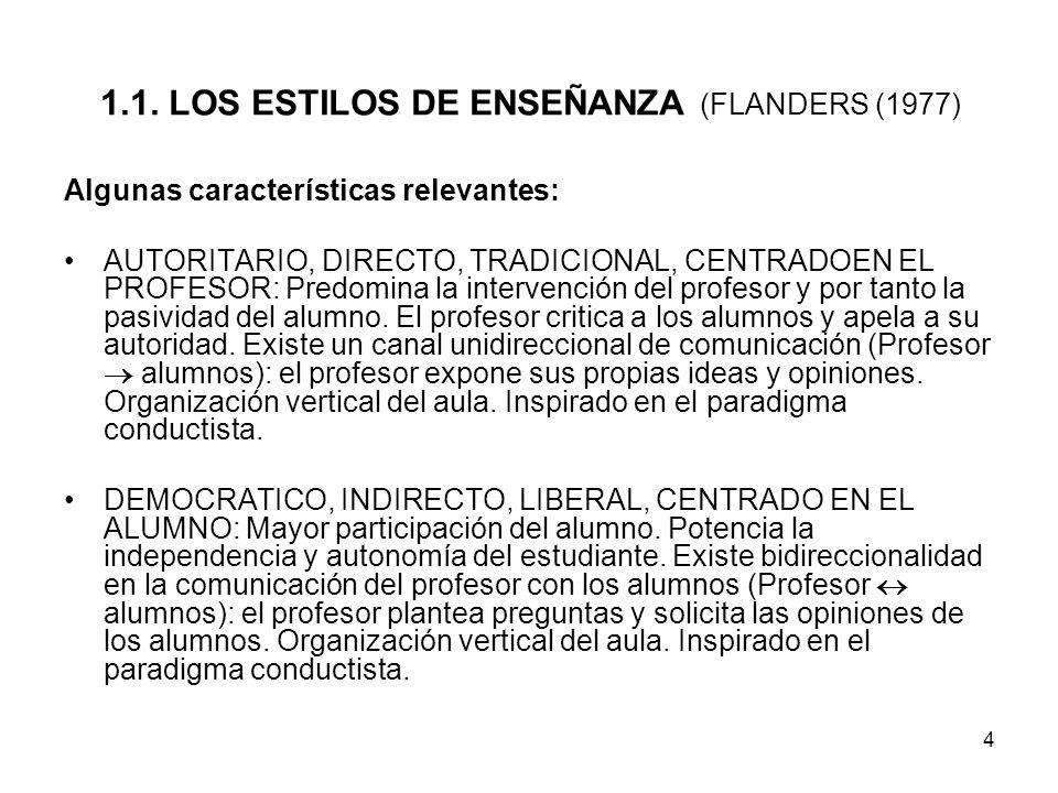 1.1. LOS ESTILOS DE ENSEÑANZA (FLANDERS (1977)