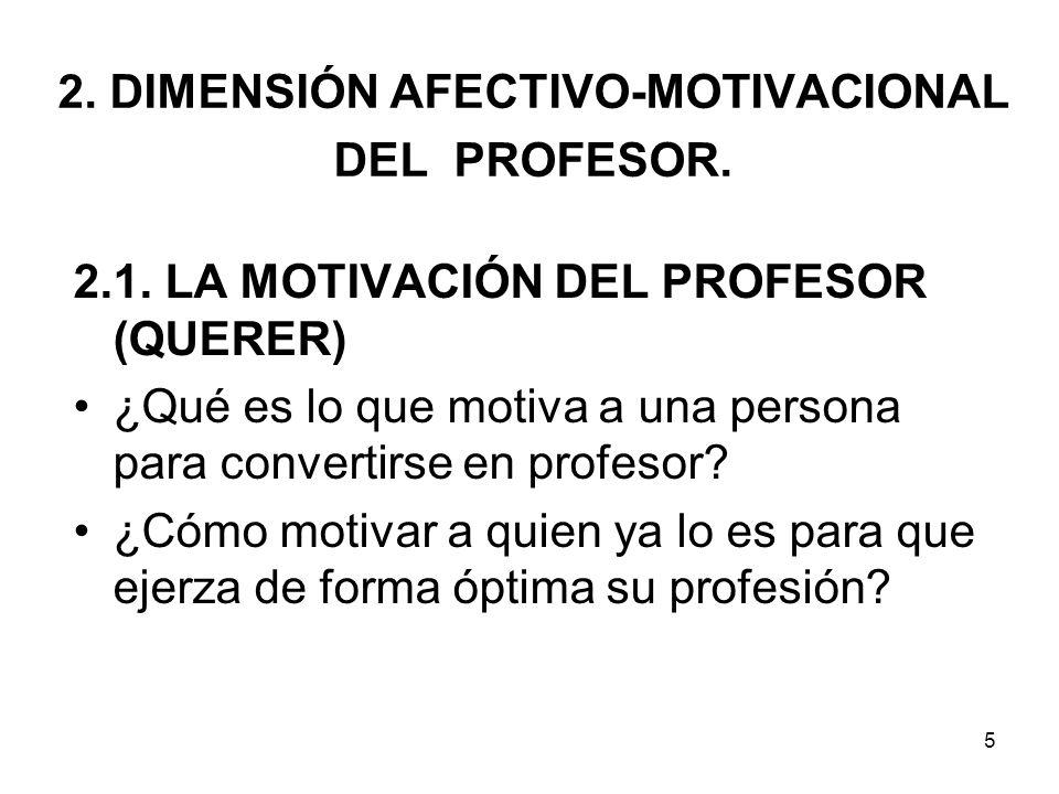 2. DIMENSIÓN AFECTIVO-MOTIVACIONAL DEL PROFESOR.
