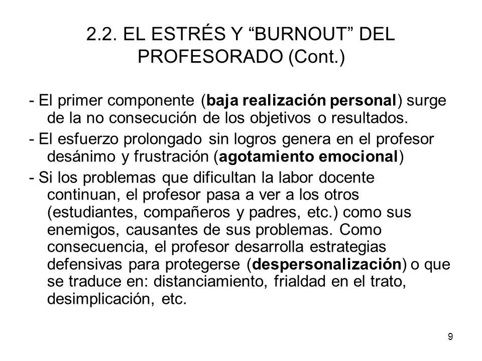 2.2. EL ESTRÉS Y BURNOUT DEL PROFESORADO (Cont.)