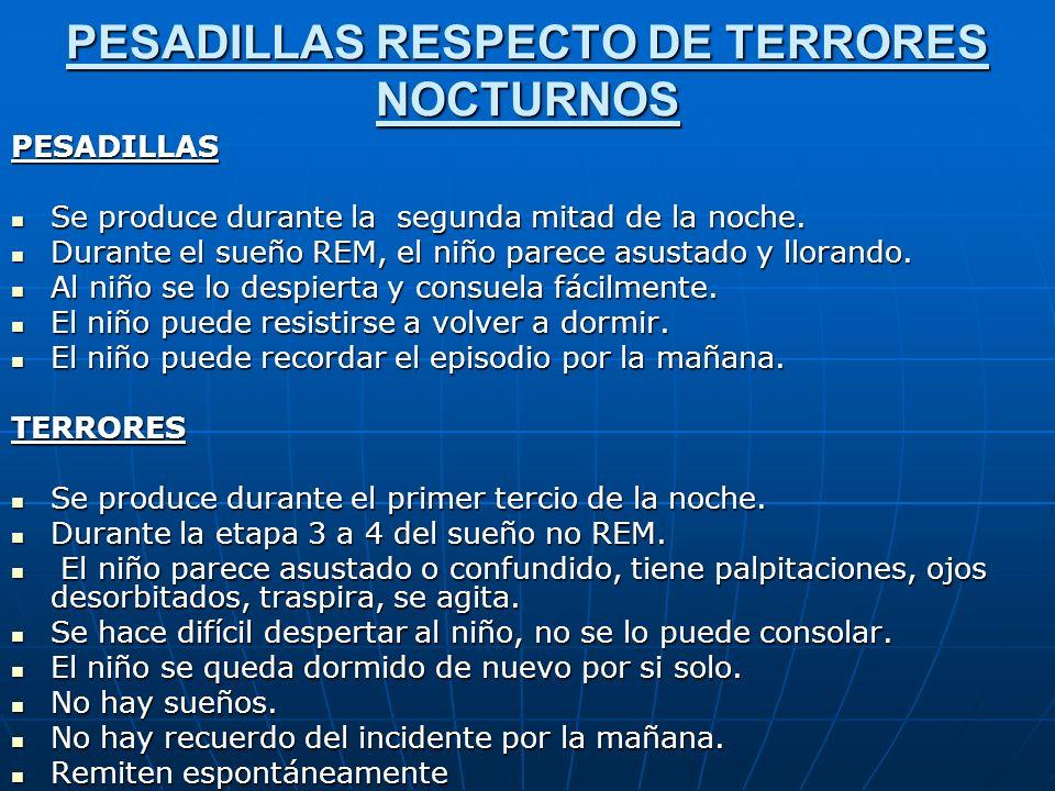 PESADILLAS RESPECTO DE TERRORES NOCTURNOS