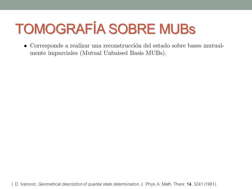 TOMOGRAFÍA SOBRE MUBs I. D. Ivanovic, Geometrical description of quantal state determination, J.