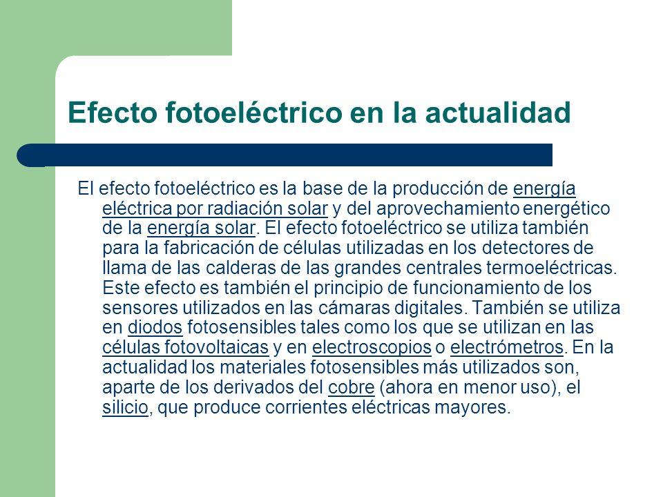 Efecto fotoeléctrico en la actualidad