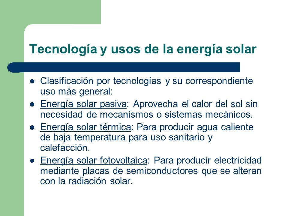 Tecnología y usos de la energía solar