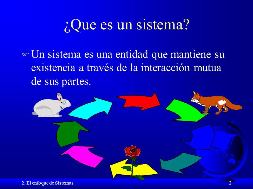 ¿Que es un sistema Un sistema es una entidad que mantiene su existencia a través de la interacción mutua de sus partes.