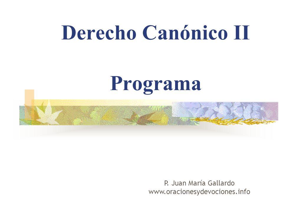 Derecho Canónico II Programa