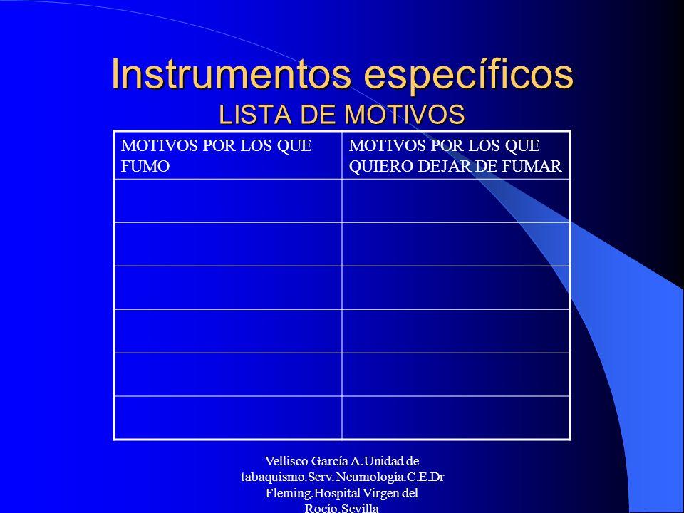 Instrumentos específicos LISTA DE MOTIVOS