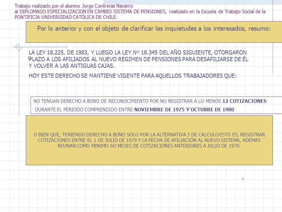 Trabajo realizado por el alumno Jorge Contreras Navarro al DIPLOMADO ESPECIALIZACION EN CAMBIO SISTEMA DE PENSIONES, realizado en la Escuela de Trabajo Social de la PONTIFICIA UNIVERSIDAD CATÓLICA DE CHILE.