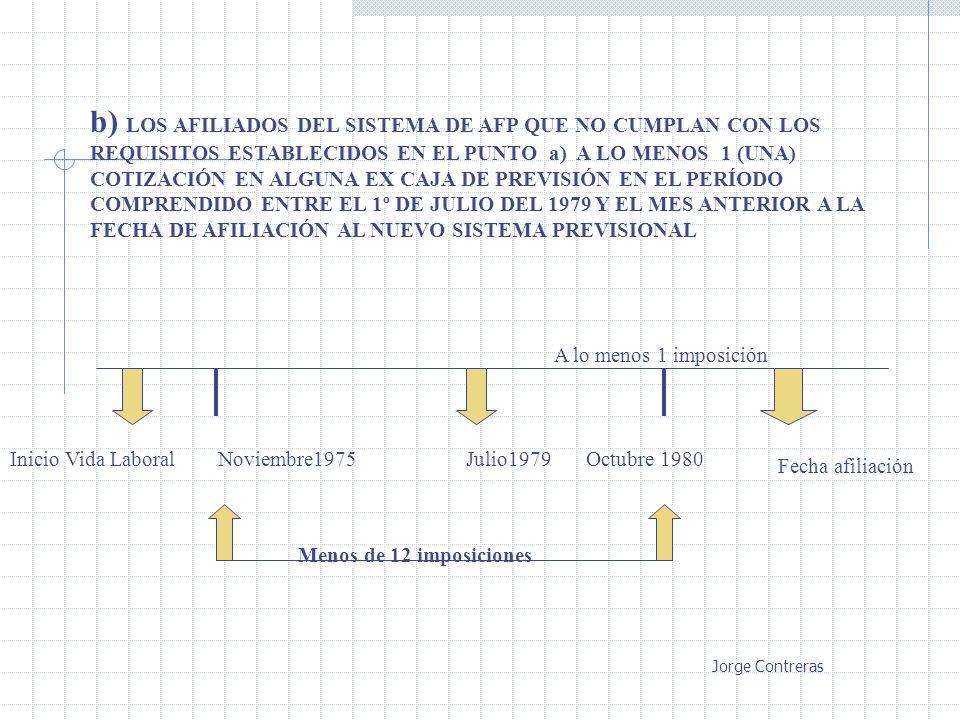 b) LOS AFILIADOS DEL SISTEMA DE AFP QUE NO CUMPLAN CON LOS REQUISITOS ESTABLECIDOS EN EL PUNTO a) A LO MENOS 1 (UNA) COTIZACIÓN EN ALGUNA EX CAJA DE PREVISIÓN EN EL PERÍODO COMPRENDIDO ENTRE EL 1º DE JULIO DEL 1979 Y EL MES ANTERIOR A LA FECHA DE AFILIACIÓN AL NUEVO SISTEMA PREVISIONAL