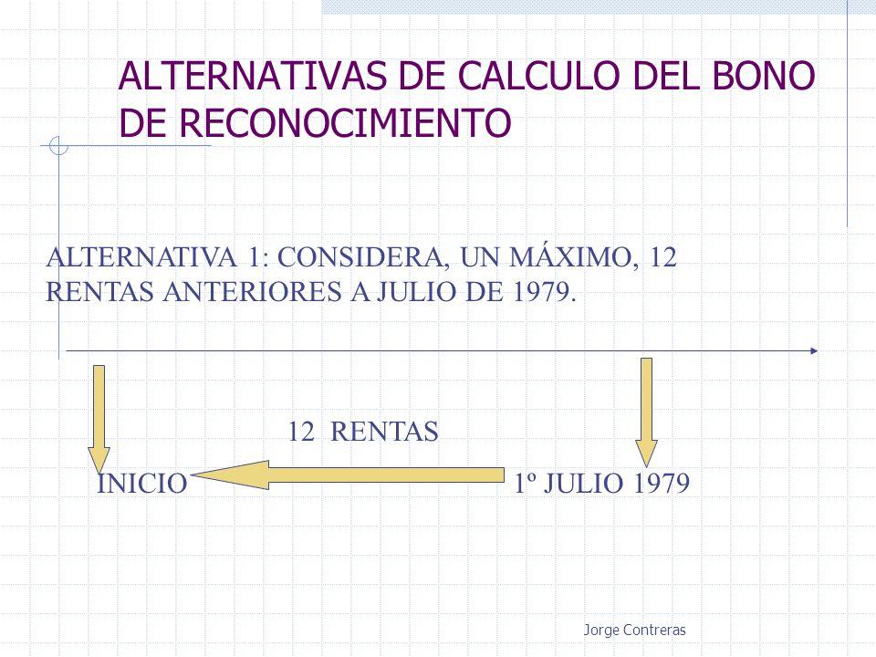 ALTERNATIVAS DE CALCULO DEL BONO DE RECONOCIMIENTO