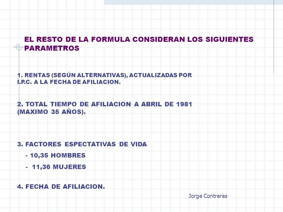 EL RESTO DE LA FORMULA CONSIDERAN LOS SIGUIENTES PARAMETROS