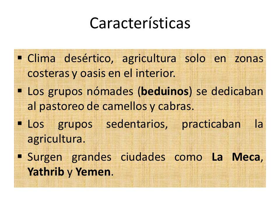 Características Clima desértico, agricultura solo en zonas costeras y oasis en el interior.