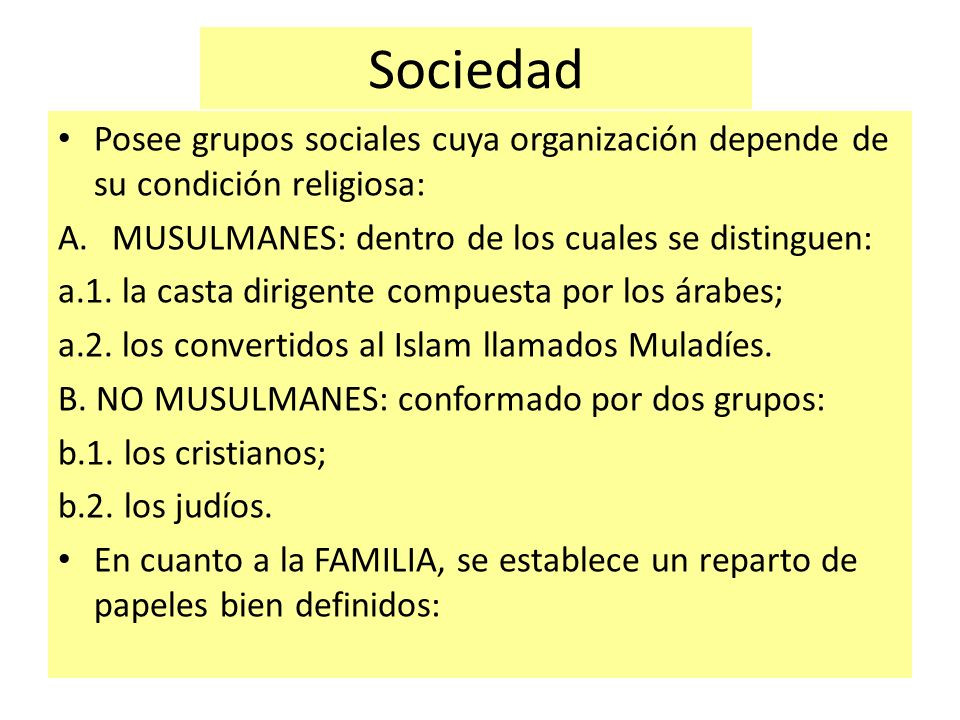 Sociedad Posee grupos sociales cuya organización depende de su condición religiosa: MUSULMANES: dentro de los cuales se distinguen: