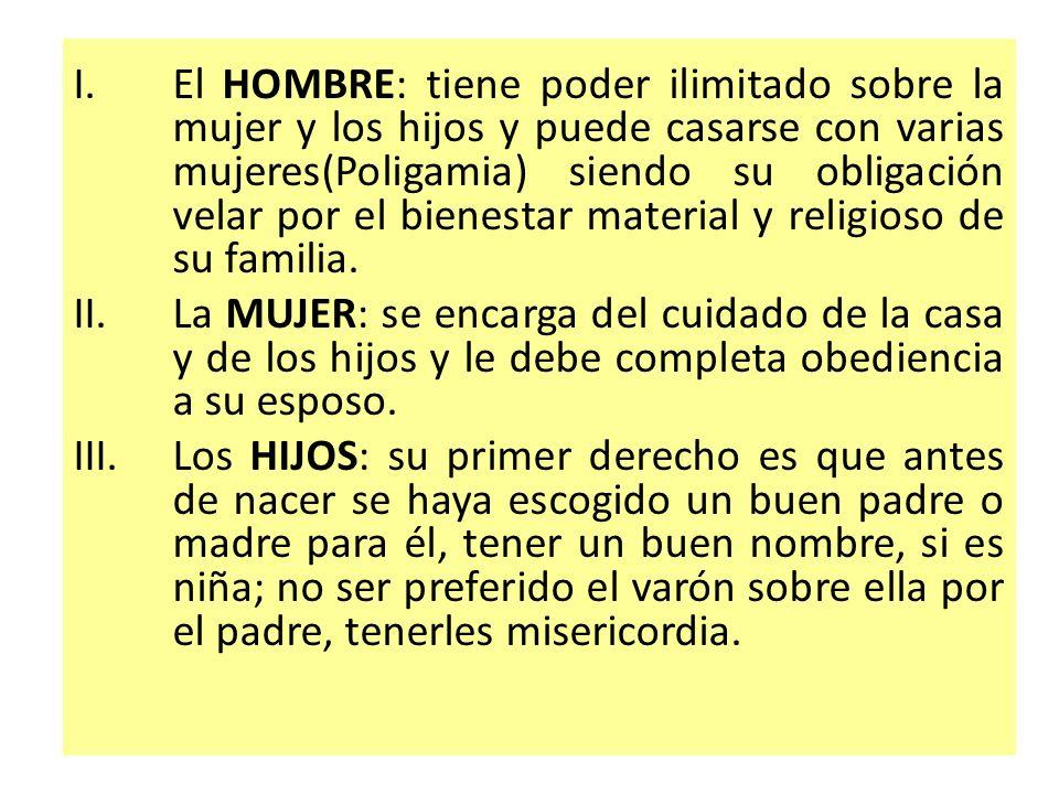 El HOMBRE: tiene poder ilimitado sobre la mujer y los hijos y puede casarse con varias mujeres(Poligamia) siendo su obligación velar por el bienestar material y religioso de su familia.