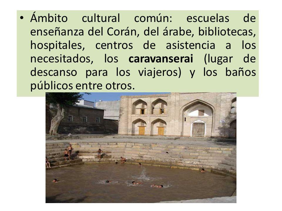 Ámbito cultural común: escuelas de enseñanza del Corán, del árabe, bibliotecas, hospitales, centros de asistencia a los necesitados, los caravanserai (lugar de descanso para los viajeros) y los baños públicos entre otros.