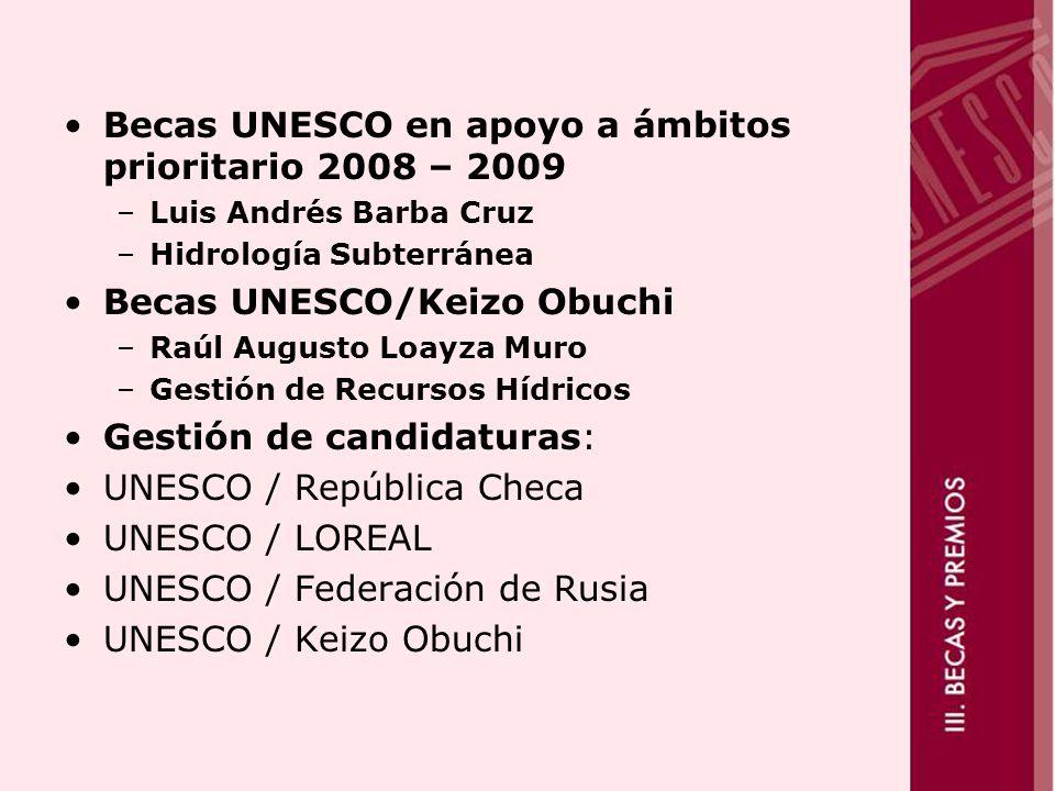 Becas UNESCO en apoyo a ámbitos prioritario 2008 – 2009