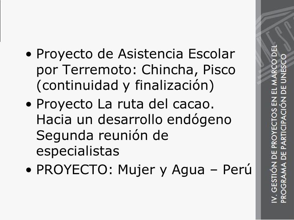 Proyecto de Asistencia Escolar por Terremoto: Chincha, Pisco (continuidad y finalización)
