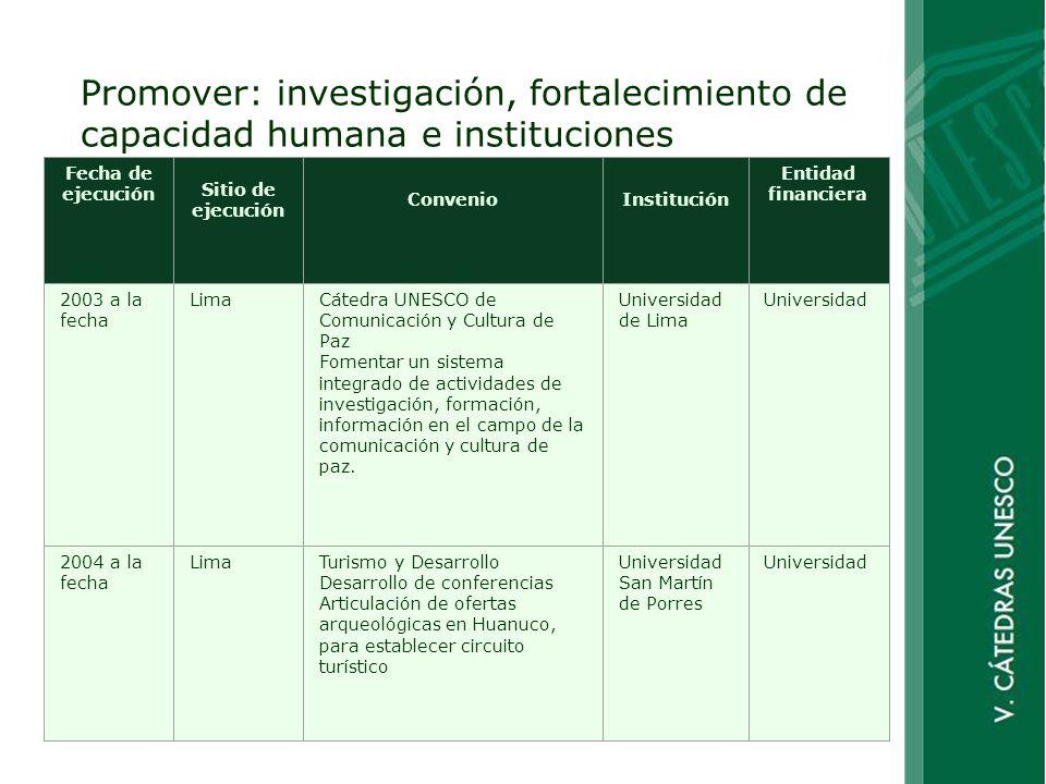 Promover: investigación, fortalecimiento de capacidad humana e instituciones