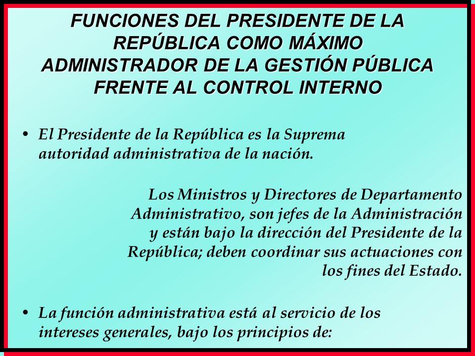 FUNCIONES DEL PRESIDENTE DE LA REPÚBLICA COMO MÁXIMO ADMINISTRADOR DE LA GESTIÓN PÚBLICA FRENTE AL CONTROL INTERNO