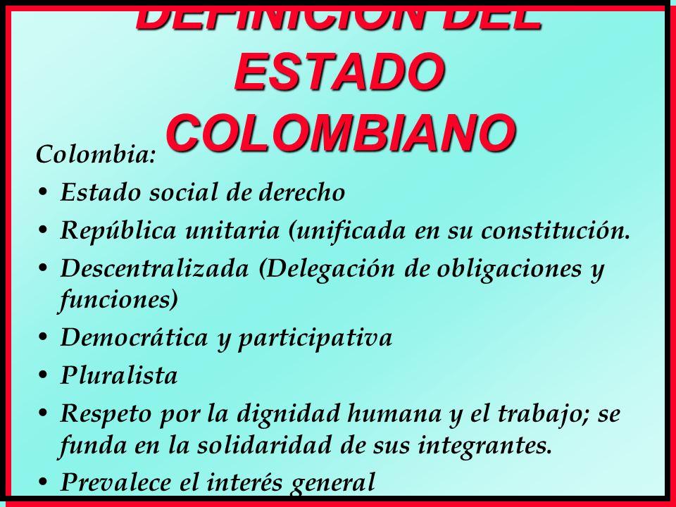 DEFINICIÓN DEL ESTADO COLOMBIANO