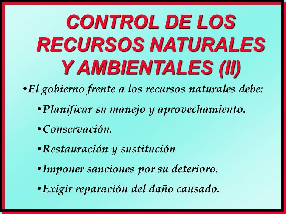 CONTROL DE LOS RECURSOS NATURALES Y AMBIENTALES (II)