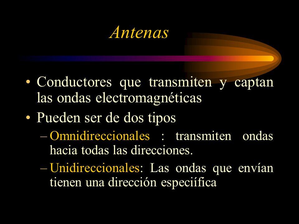 Antenas Conductores que transmiten y captan las ondas electromagnéticas. Pueden ser de dos tipos.