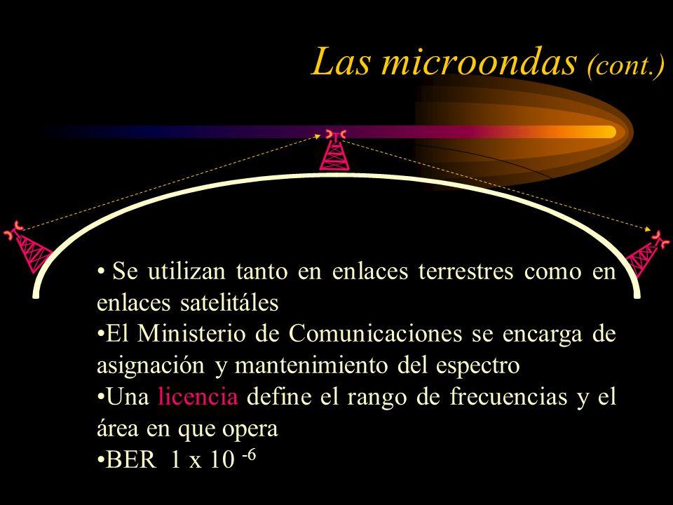Las microondas (cont.) Se utilizan tanto en enlaces terrestres como en enlaces satelitáles.