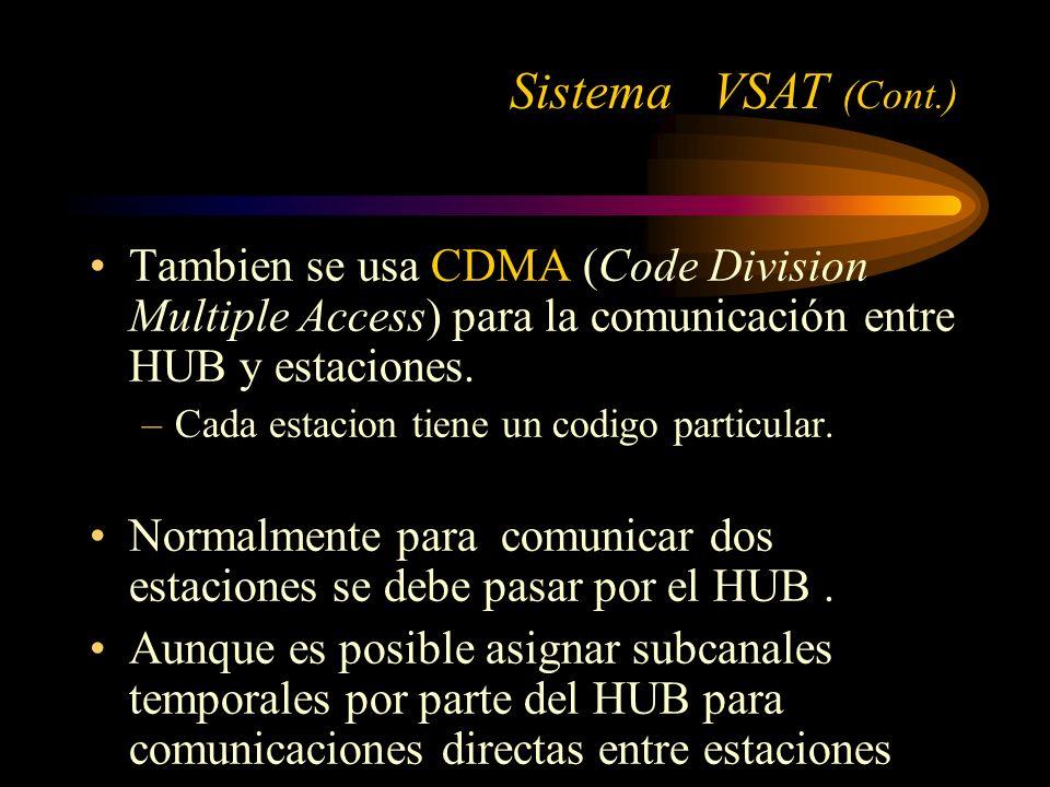 Sistema VSAT (Cont.) Tambien se usa CDMA (Code Division Multiple Access) para la comunicación entre HUB y estaciones.