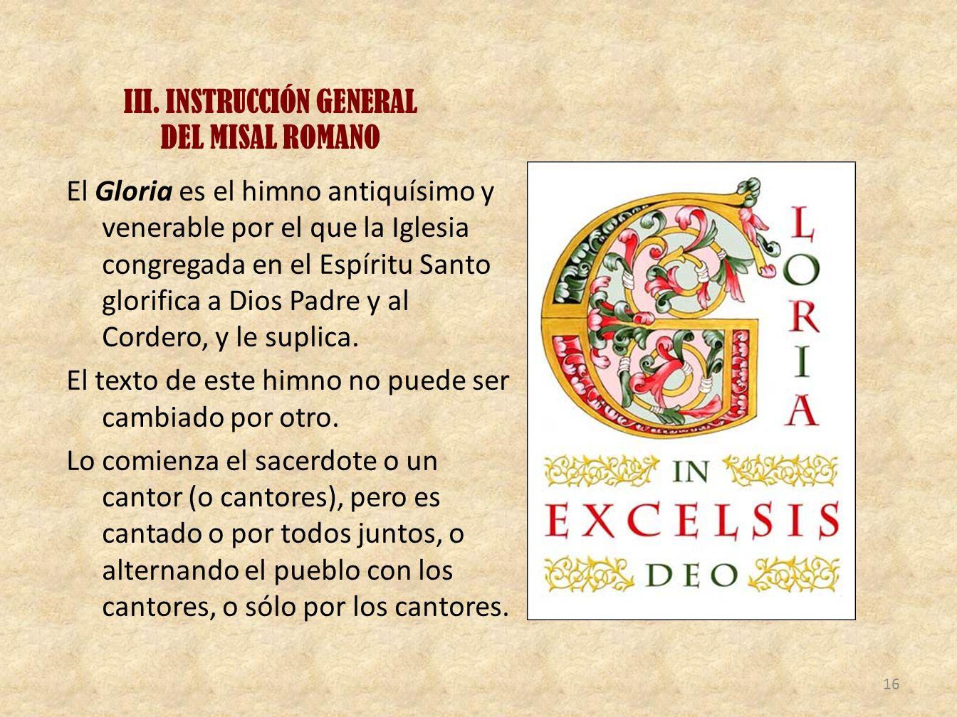 III. INSTRUCCIÓN GENERAL DEL MISAL ROMANO