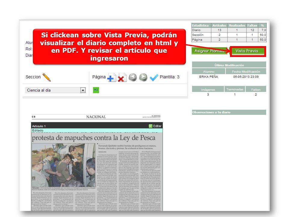 Si clickean sobre Vista Previa, podrán visualizar el diario completo en html y en PDF.